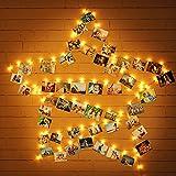 Uping Clip Cadena de Luce LED Colgar Fotos de Luces 40 Fotoclips Guirlande de Luces Pinza 100 LED USB Guirnaldas Luminosas por Decoración (Blanco Cálido)