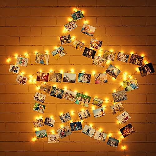 Uping 100 LED Fotoclips Lichterkette Kupferdraht Lichterkette mit USB Bilder Clips Lichterkette Kupferdraht Lichterkette Ideale Weihnachtsbeleuchtung für Außen, Innen, Zimmer, Party, Deko