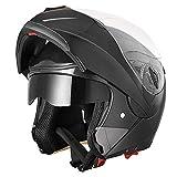 AHR Run-M Full Face Flip up Modular Motorcycle Helmet DOT Approved Dual Visor Motocross Blue XL