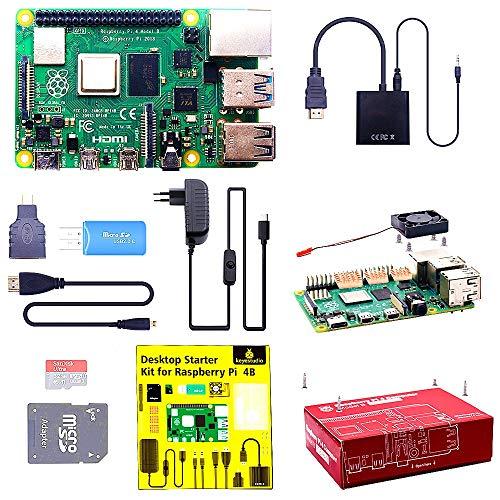 KEYESTUDIO Raspberry Pi 4 Model B 4 GB Kit mit 32GB Class10 Micro SD-Karte, unterstützt BT5.0/Gigabit-Ethernet/Dual Display 4K 60Hz /3 Premium Kupfer Kühlkörper