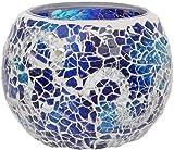 Maturi Portavelas de Cristal Agrietado, Azul, 8 x 7.5cm