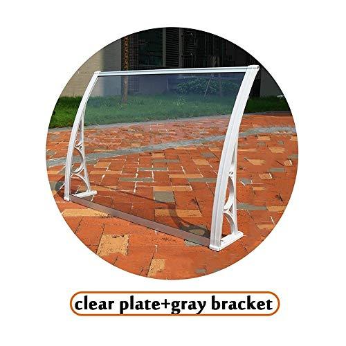 LRZLZY Las Placas de policarbonato Soporte de Aluminio Durable de la Puerta del Refugio Lluvia El Tiempo de Prueba, Claro Plata/Gris Soporte (Size : 60CMX120CM)
