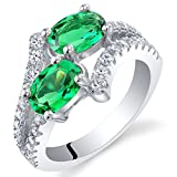 Forever Us Two Stone Simulated Emerald Sterling Silver Ring Size 7