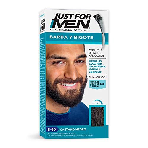 Just For Men Tinte Colorante En Gel Para Barba Y Bigote, Cubre Las Canas, Castaño Negro (B-50), 28.4 g