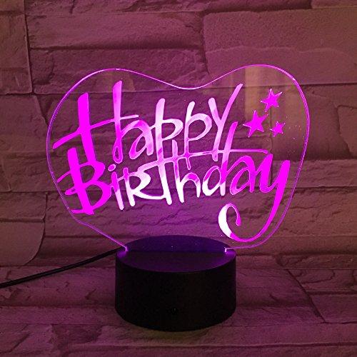 Gefeliciteerd voor verjaardag 3D-lamp bedlampje, nachtlampje voor de kinderkamer, led-lamp voor de woonkamer