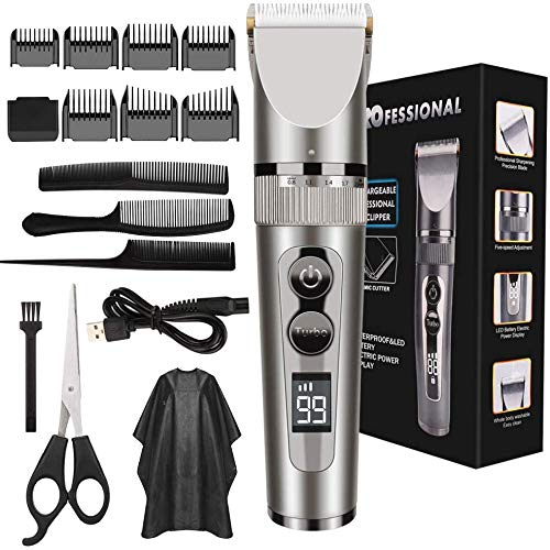 ETMURY Haarschneidemaschine Set, Haarschneidemaschine wiederaufladbarer USB Profi Haarschneider Set, IPX7 Wasserdicht Elektrisch Langhaarschneider Haarrasierer Bartschneider Haartrimmer für Männer