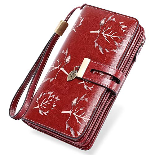 LUROON Carteras Mujer Piel, Monederos Mujer Cuero Gran Capacidad con 24 Ranuras para Tarjetas Bloqueo RFID Billeteras Mujer de Elegante y Moda Billetera Larga Mujercon Cremallera (Rojo)