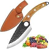 Cuchillo de cocina, profesional, forjado a mano, para cortar carne, con funda de piel para procesar verduras y carne, para la cocina, al aire libre y camping