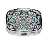 Pastillero portátil con diseño de mandala indio floral étnico de henna estilo tatuaje pastillero contenedor para bolso o bolsillo personalizado viaje al aire libre