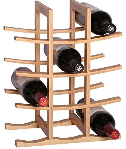 RTA La Pagode - Botellero de bambú con 12 botellas, sistema modular para vino, color natural