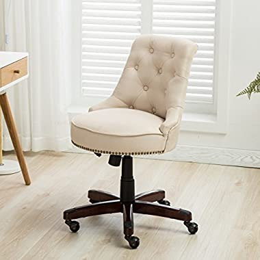 Belleze Office Chair Tufted Beige Mid-Back Height Adjustable Desk Ergonomic Tilt Swivel Task Computer w/Wooden Leg
