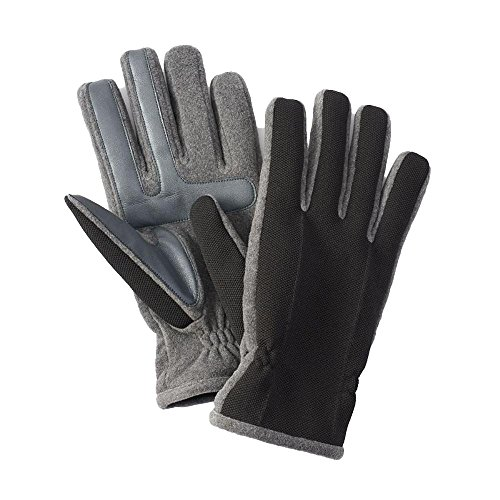 Isotoner Men Smart Touch Tech Stretch Gloves Therma Flex Lining Grey Large