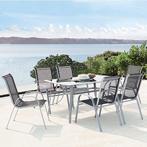 CONCEPT USINE - Alassio 6 : Ensemble Table en Aluminium + 6 chaises en Acier