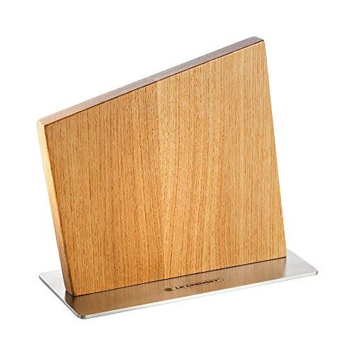 Le Creuset Magnetischer Messerblock für bis zu 8 Messer, Eichenholz, Edelstahlsockel, Beige, 28 cm