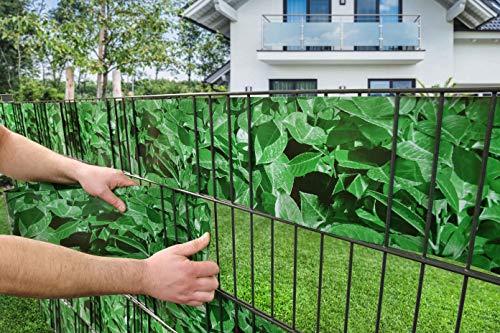 Zaunsysteme Robel 10 Streifen Motiv Sichtschutzstreifen Hart PVC Kirschlorbeer Optik