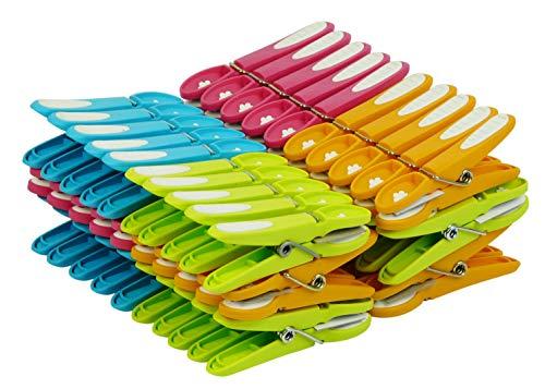 LAGUELLE – 60 pinzas de ropa antideslizantes – Fabricación francesa – surtidos verde, azul, naranja y rosa