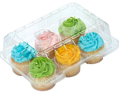 50 pc. 6-Compartment Cupcake Containers boxes with Hinged Lid Clear - plus white...