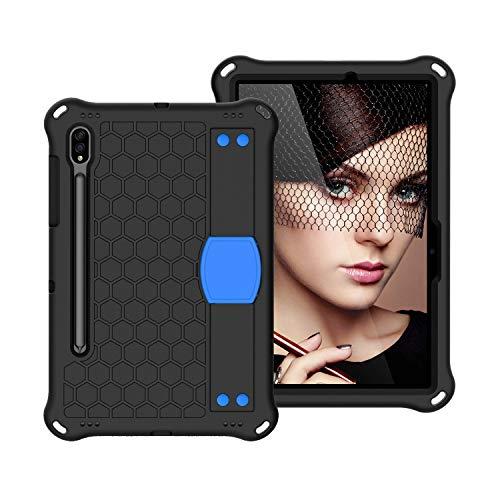 SZCINSEN Funda para tablet Samsung Galaxy Tab S7 (11 pulgadas) 2020 (SM-T870/T875) a prueba de golpes, resistente a prueba de golpes, con correa para el hombro, color negro y azul