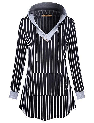 Miusey Vintage Sweatshirt,Junior Cute V Neck Long Sleeve Classy Round Hem Retro Striped Spaghetti Patch Pocket Hoodies Embellished Button Semi-loose Fall Clothing Black Large