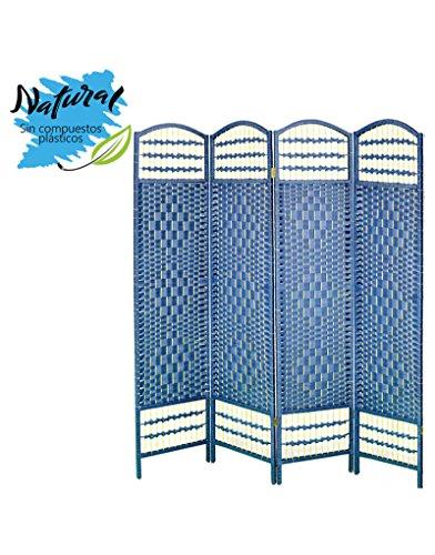 Biombo Azul Plegable Cuatro Puertas Madera Natural