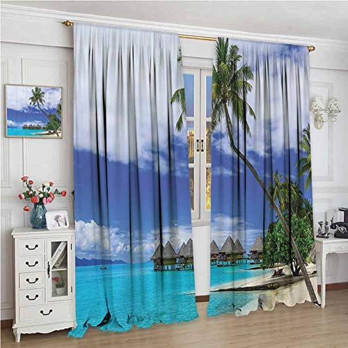 GUUVOR Tropical Decor Room Darkened Heat Insulation Curtain Over-Water Bungalows of Tropical Resort Bora Bora Island Pacific Ocean Panorama Living Room Curtains W72 x L108 Inch Green Blue White