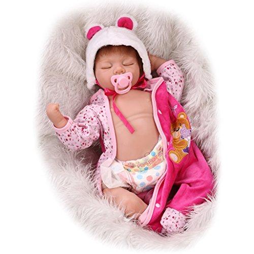 Nicery Reborn Baby Doll Réincarné bébé Poupée Doux Simulation Silicone Vinyle 22 Pouces 55cm Bouche Qui Semble Vivant Garçon Fille Jouet Vif réaliste Âge 3+ Boy Girl Pink Bear Dress Eyes Close