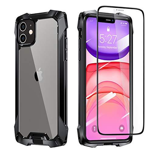Eiaisi Kompatibel iPhone 11 Hülle,360° Schock & Anti-Fall, Transparente Rückseite Hülle, Kratzfester & Vollständiger Schutz Handyhülle Geeignet für iPhone 11 6.1 Zoll (Schwarz)
