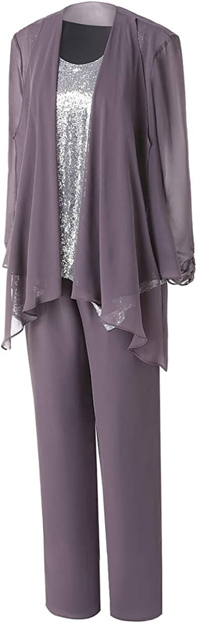 Vincent Bridal Women's Formal Sequins 3 Pieces Mother of The Bride Pants Suits Chiffon Long Sleeves Outfit Evening Dress