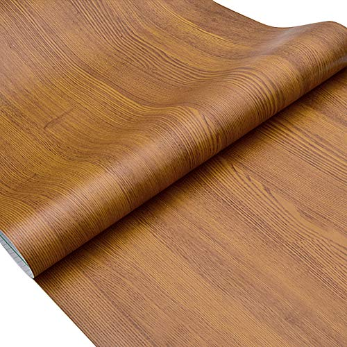 Lependor Wood Peel and Stick Wallpaper Wood Grain Printed Stick Wall Paper Self Adhesive Film Removable Textured Wood Panel Decorative Wall Covering - 17.71' X 393' (17.71' X 32.8 ft, Light Brown)