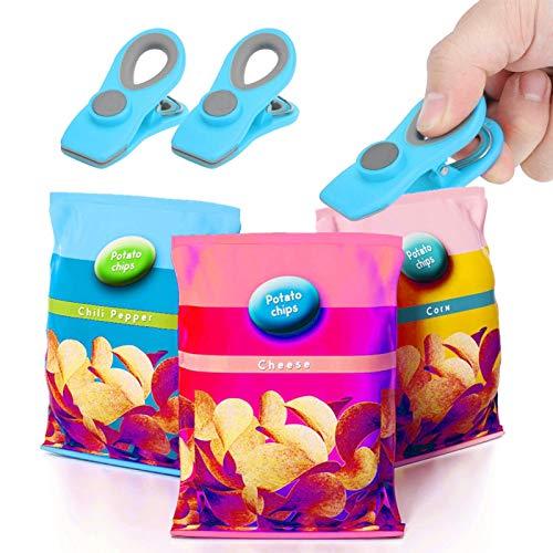 Pwshymi Pinzas para Bolsas de Comida Pinzas para Comida magnéticas para Patatas Fritas para Oficina(Blue)