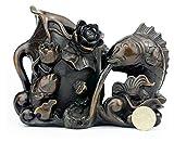 WQQLQX Statue Antike Fisch Stift Halter Handwerk Skulptur Reine Kupfer Lotus Blatt Kunst Statue Wohnaccessoires Ornamente Desktop Dekoration Zubehör Tierfiguren Skulpturen