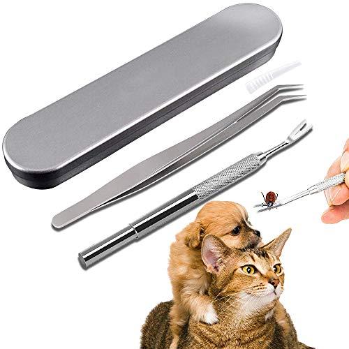 Herramientas de eliminación de garrapatas, Acero Inoxidable Pinzas para garrapatas pulgas garrapatas Remover Kit para Pet Perros Gatos Hombre(1 Gancho garrapatas+1 Pinza garrapatas+1 caja de hierro)