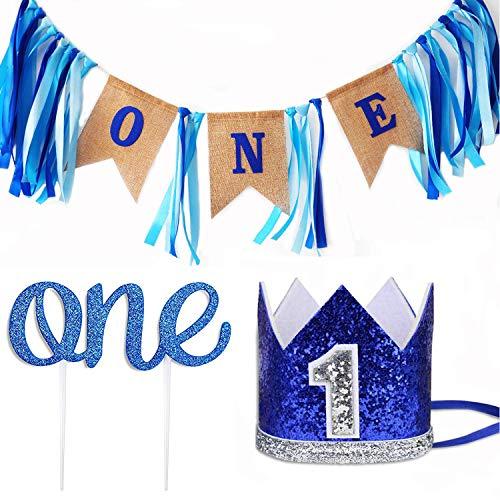 Leedemore Baby 1st Birthday Boy Decorations Crown - Baby Boy First Birthday Decorations High Chair Banner ONE Burlap Banner, No.1 Crown, Glitter Cake Topper Birthday Party Decorations Supplies