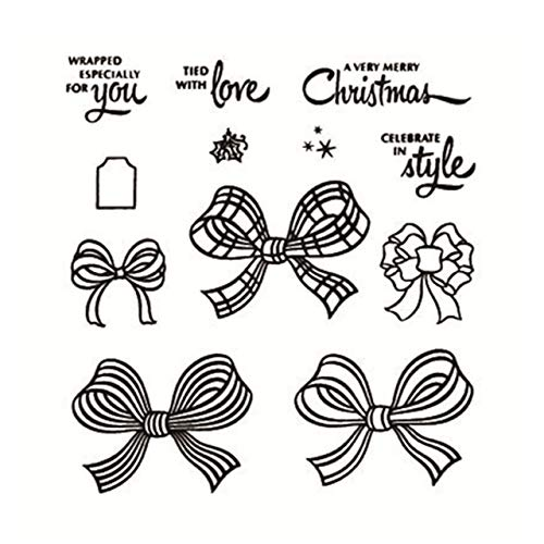 Thacopha New 2020 DIY Metal Cutting Dies and Scrapbooking for Paper Making Christmas Bow-Knot Embossing Card Clear Stamps Stampin Up Set - Stamps