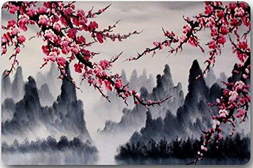 ELQSMTIR Fußmatte für den Innenbereich/das Badezimmer, maschinenwaschbar, wunderschöner Kirschblütenbaum, japanische Kirschblütenkunst im Dunkeln, 60 x 40 cm