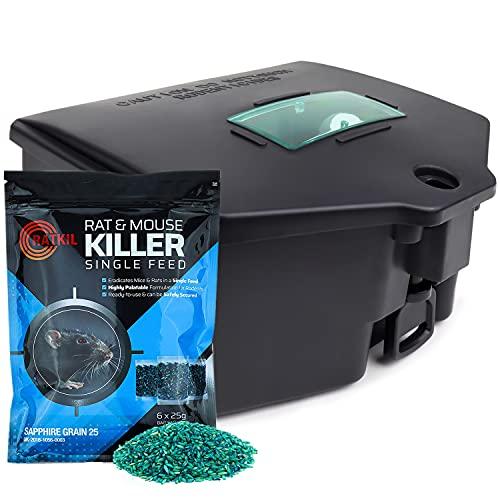 Ratkil Rat Bait Box & Rat Poison For Pest Control - Large, Tamper proof...