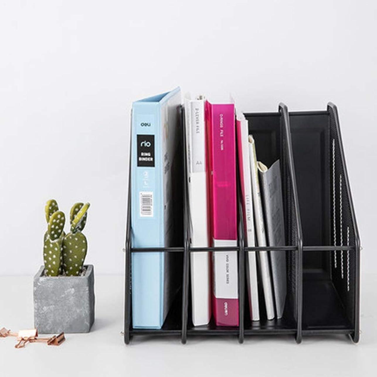 意識手錠悲劇的な書棚 マガジンラックメタルメッシュアイアンファイルフレームファイルホルダー収納ボックスマガジンボックス取り外し可能デスクトップデータホルダー金属 (Color : Black, Size : 32.5*29*31.5cm)