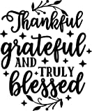 SEC Apparel Thanksgiving Iron on transfers for t Shirts, Aprons, Decorations, mask and More (Thankful, Grateful and Truly Blessed)