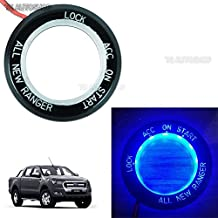 megaauto Blue LED Ring Start Switch On Off Key Remote Trim Cover for Ford Ranger T6 Px2 Mk2 WildTrak UTE 2 Door 4 Door 4WD 2WD 4x4 4x2 Pick-Up Truck 2012 2013 2014 2015 2016 2017