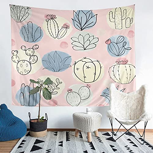 Tapiz de pared con diseño de cactus para colgar en la pared para niños y niñas, acuarela botánica, plantas naturales exóticas, arte de pared para dormitorio, sala de estar, XLarge de 152 x 228 cm