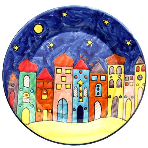 Gall&Zick Village Assiette décorative Peinte à la Main Multicolore, Bleu, 20,5cm Frühstücksteller
