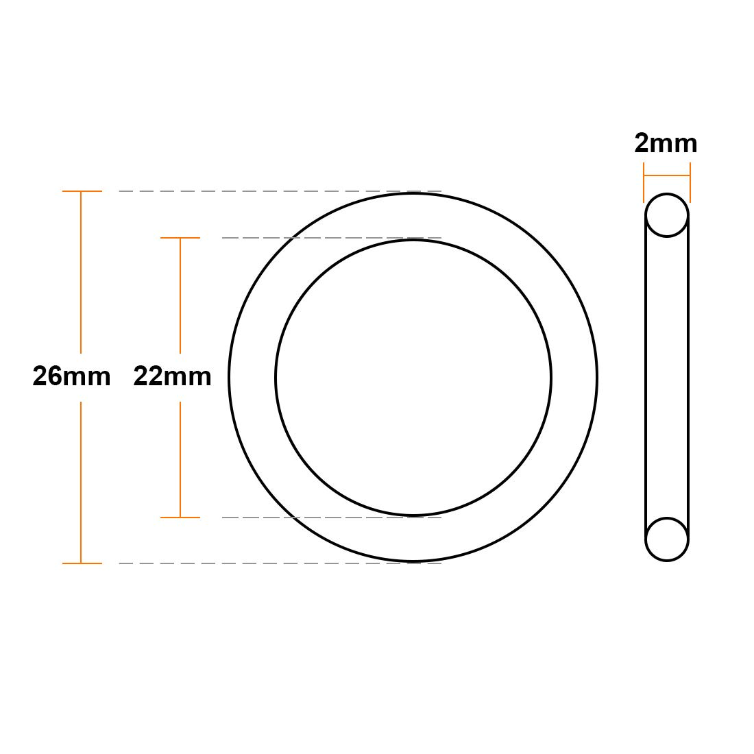 Pack of 20 Metric FKM Sealing Gasket uxcell Fluorine Rubber O-Rings 19mm OD 15mm ID 2mm Width