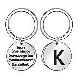 Inspirations-Schlüsselanhänger, A-Z 26, Initialen-Schlüsselanhänger, Ring für Damen und Herren, Geschenk (K)