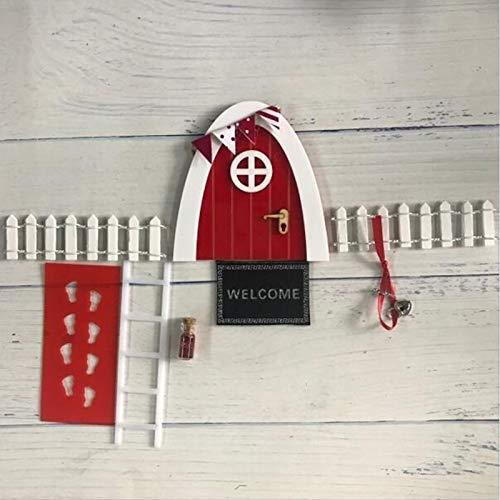 WEJUANR Zauberfee Tür Weihnachten Tür-Bogen Hand Made Nette Rosa Fee Tür Mauseloch DIY-Fee-Garten Zahn-Fee Tür Geburtstags-Geschenke (Color : Red Set 1)