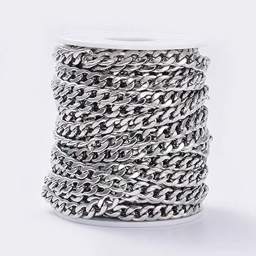 19 piedi/rotolo catene in acciaio inox a maglie non saldate 9 x 6 mm per collane gioielli accessori fai da te
