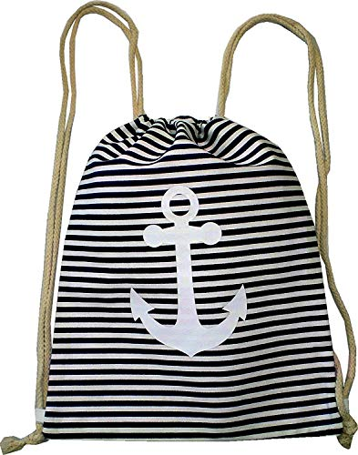 Sac à dos pour homme et femme Hipster noir à rayures sac de gym sac de sport en toile de mer Sac en tissu Sac de gym pour enfants Ancre 4757 Noir