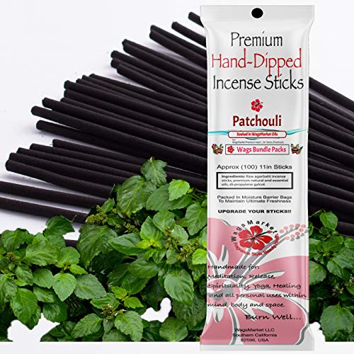 WagsMarket Premium Hand Dipped Incense Sticks, You Choose The Scent. 100-12in Sticks. (Patchouli)
