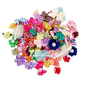 JpGdn 100pcs Dog Hair Bowswith Rubber Bands Hair Bow Ties in Mixed Colors for Puppy Doggy Cat Small and Medium Hair Flower Grooming Accessories Attachment