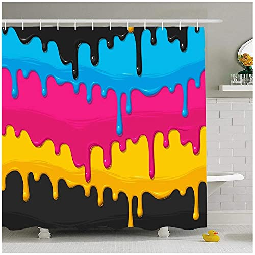 XXzhang Duschvorhang Set mit Haken Textur Tropf Cyan Magenta Gelb Schwarz Farbe Print Gestreiftes Design Tropfen Mit Haken-180x180cm
