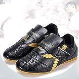 HaoLin Zapatos De Taekwondo Entrenadores Ligeros De Artes Marciales Zapatos para Hombres Mujeres Niños Adultos Zapatos De Karate De Boxeo Velcro De Cuero,B-44